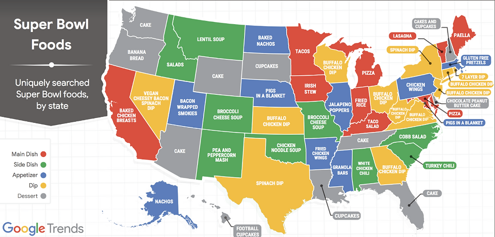 Google Trends Uniquely Searched Super Bowl Foods By State