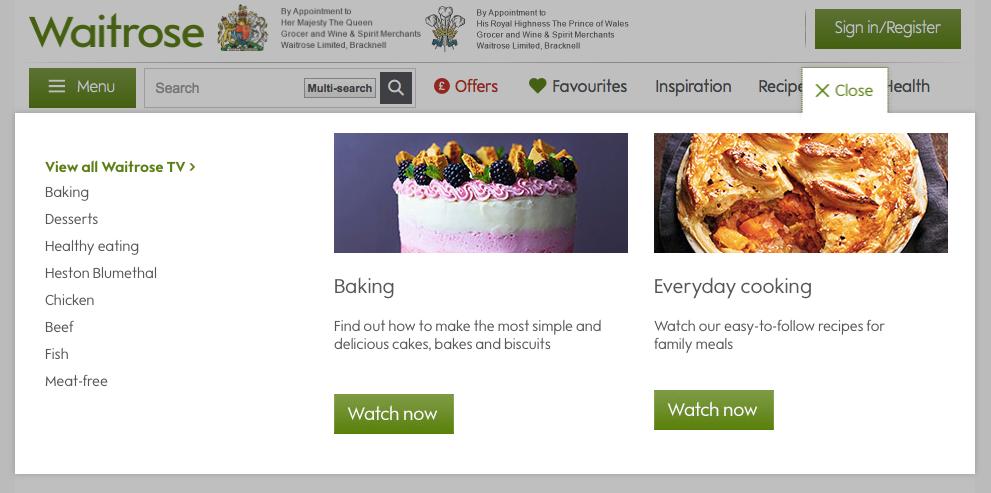 Waitrose website recipe section