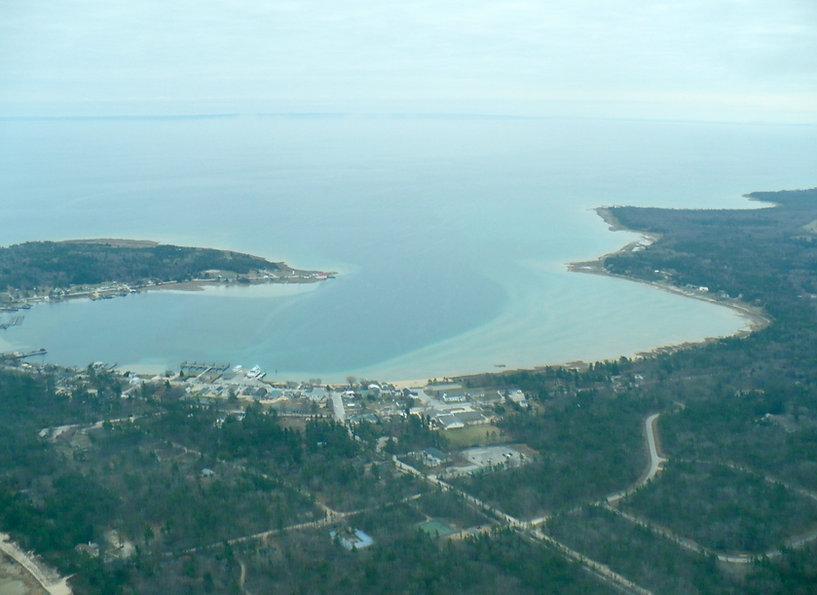 Aerial view of Paradise Bay, Beaver Island, MI