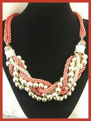 Red & Gold Beaded Necklace Set