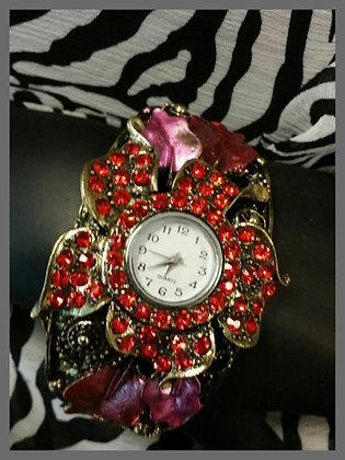 Pink Flowered Watch
