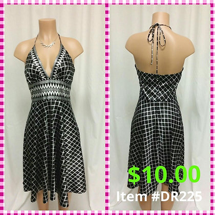Item # DR225 Black & White Silk Dress