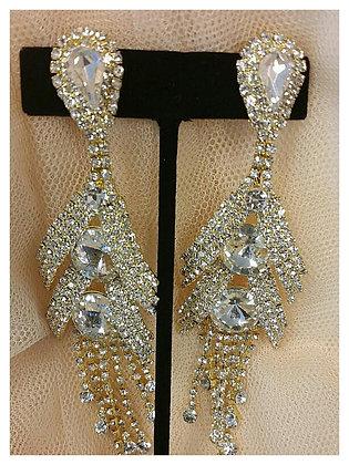 Gold & Rhinestone Clip Cascade Earrings