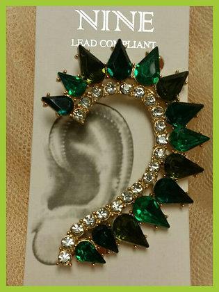 Green Stone Ear Cuff
