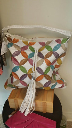 White & Multi Color Patchwork Purse