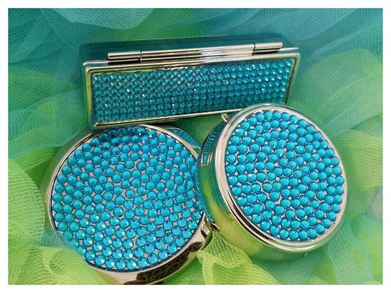 Lip Stick, Pill Case & Compact Mirror Set