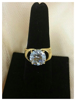 Gold Plated Solid CZ Fashion Ring