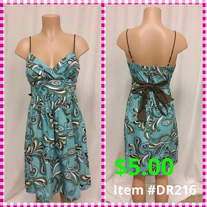 Item # DR216 Green/Blue Print Dress