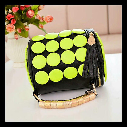 Neon/Black Button Purse
