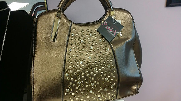 Bronze & Gold Stone Handbag