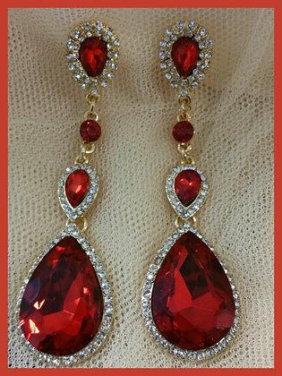 Red Long Drop Earrings