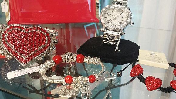 Red Beaded Charm Bracelet