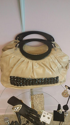 Beige & Black Stone Large Handbag