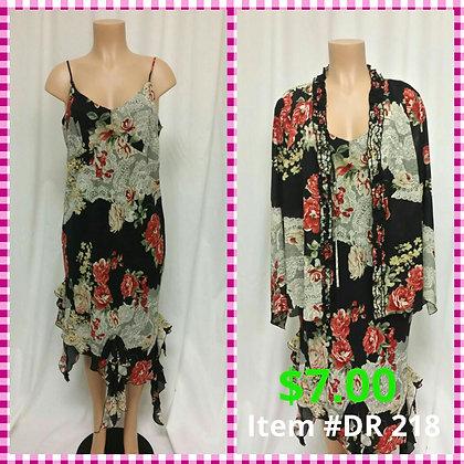 Item # DR218 Blk Flower Dress