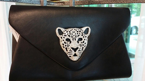 Rhinestone Tiger Black Clutch