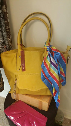 Mustard Yellow Handbag with Scarf