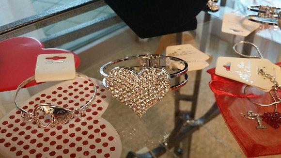 Silver Heart Puff Bracelet