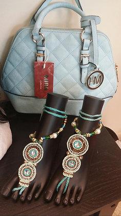 Light Blue Patchwork Handbag
