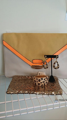 Yellow & Orange Canvas Clutch Bag