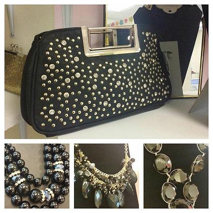Black & Gold Clutch Bag