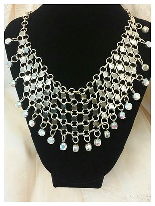 Gold Rhinestone Drop Necklace Set