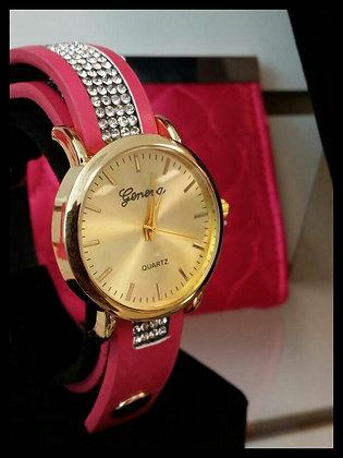 Geneva Leather Wrap Watch