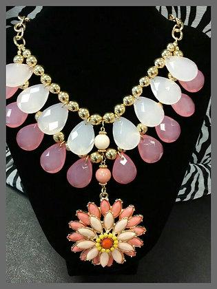 Pink Drop Flower Necklace Set