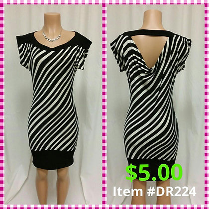 Item # DR224 Black/White Stripe Dress