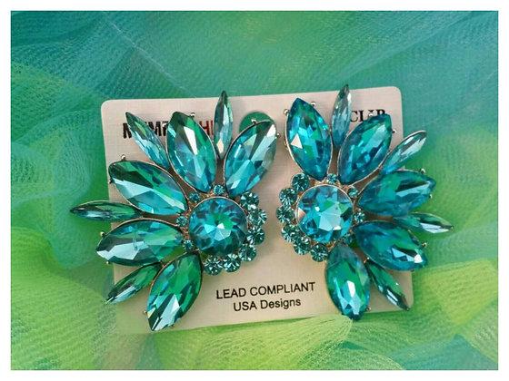 Aqua Crystal Clip Earrings
