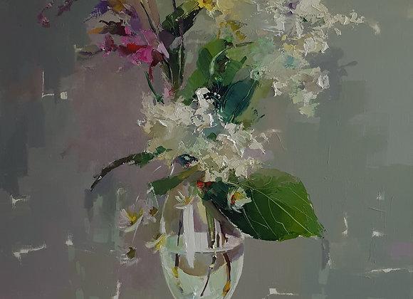 """Гортензии и ещё какие-то цветочки"", холст, масло, 100х70см."