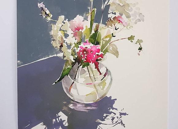 """Из серии """"Тени цветов"""" , картина 50х36см, """"Букет с гортензиями""""."""