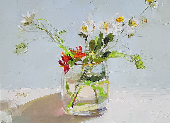 """Букет в бокале для виски 2"", холст, масло, 35х30см. ""Bouquet in a whiskey glass"