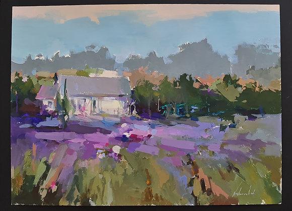 """""""На берегу лавандовой  реки"""",""""On the banks of the lavender River"""",66х72смв раме"""