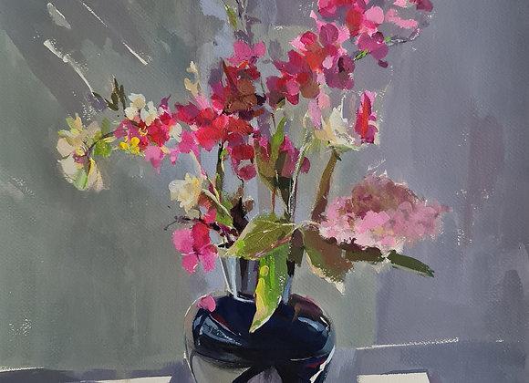 """Букет с розовыми цветами"", темпера, лист 62х46см, картина в раме 77х57см."