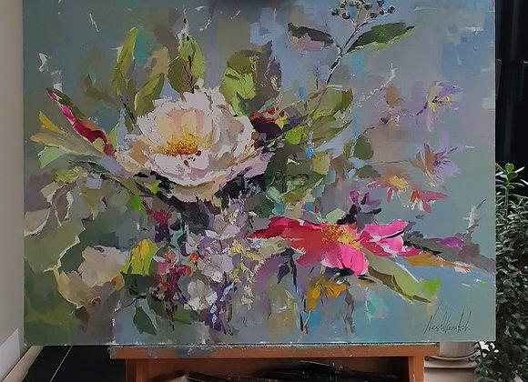 """Цветы из моего сада"", 60×80см, ""Flowers from my garden""."