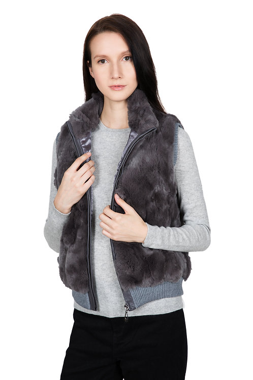 OBURLA Women's Real Rex Rabbit Fur Vest - Genuine Leather Accented Zipper - Grey
