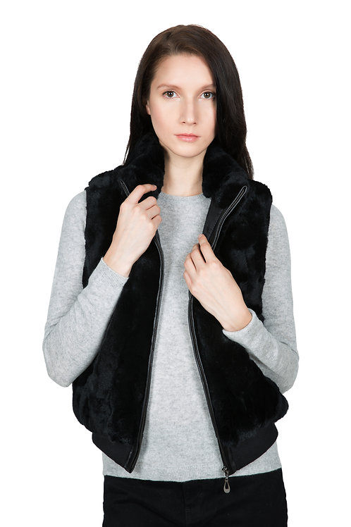 OBURLA Women's Real Rex Rabbit Fur Vest - Genuine Leather Accented Zipper -Black