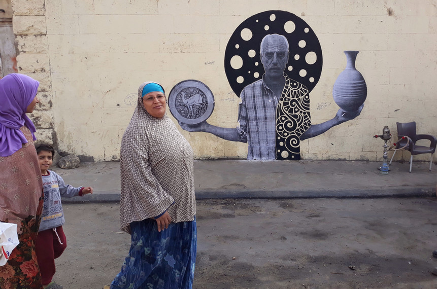 Retrato de Am Ahmed (Sr. Ahmed) colab com El-Hassan, Bienal de Arte do Cairo (2018) - lambe-lambe