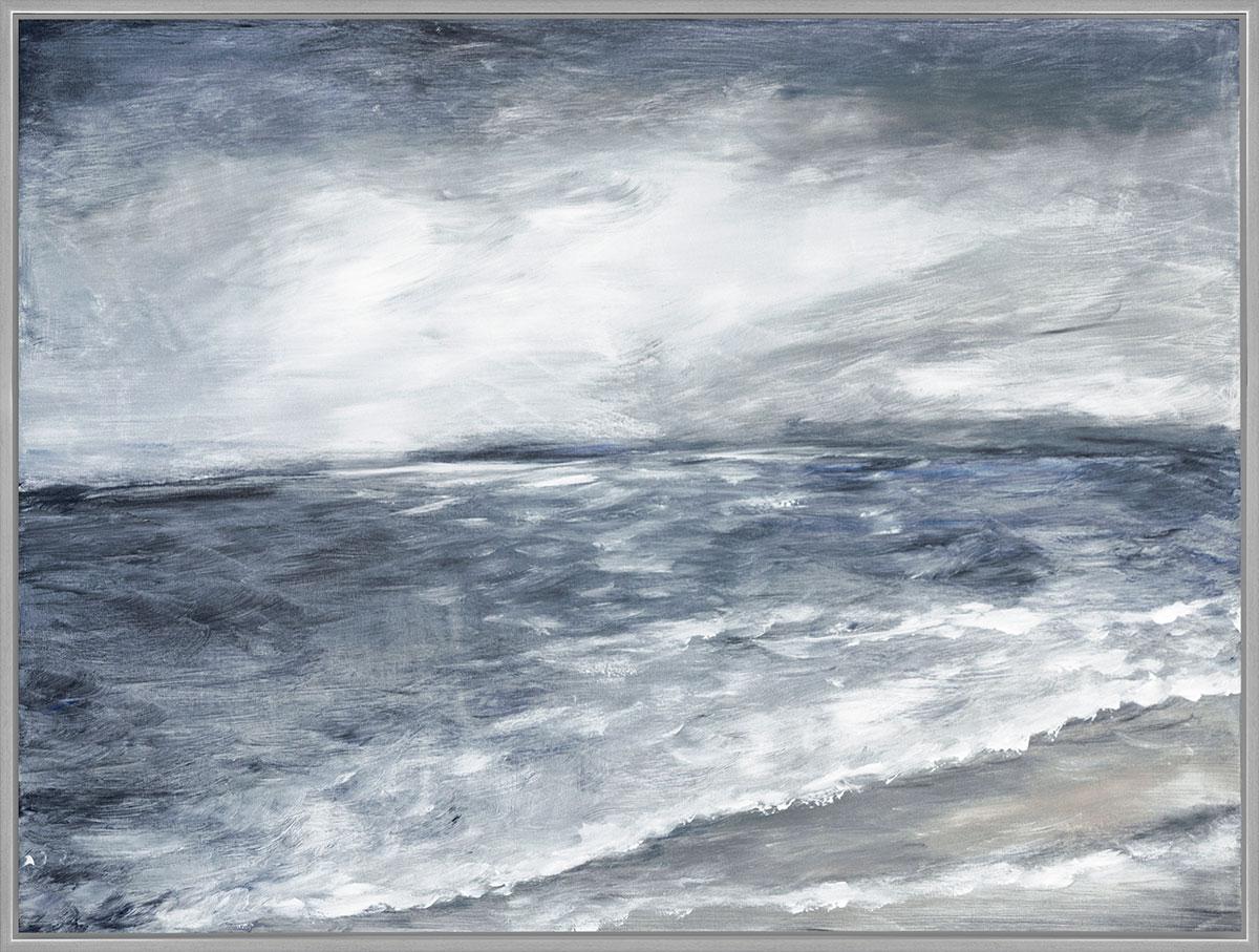 Moonlight Waves Framed - Description: Framed textured canvas  Price: $540 Dimension: 38 X 50