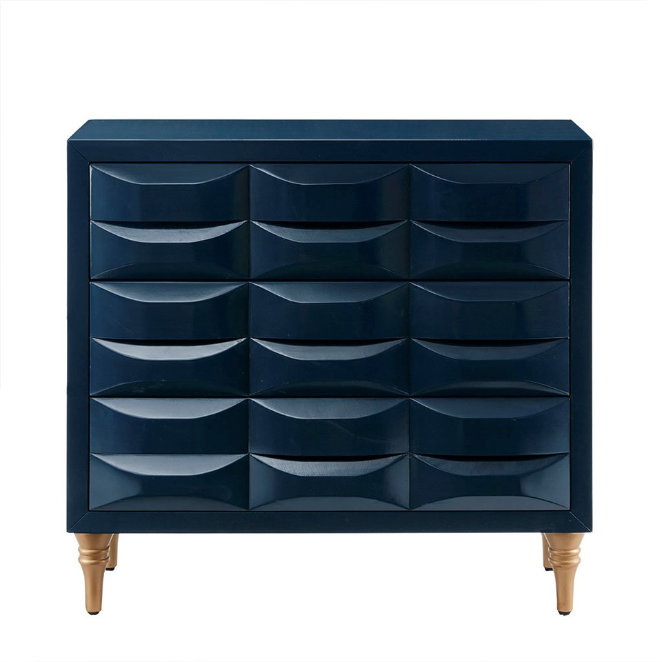"""Navy 3 Drawer Chest - Dimensions: 36""""W x 14.75""""D x 34.25""""H Price: $500"""