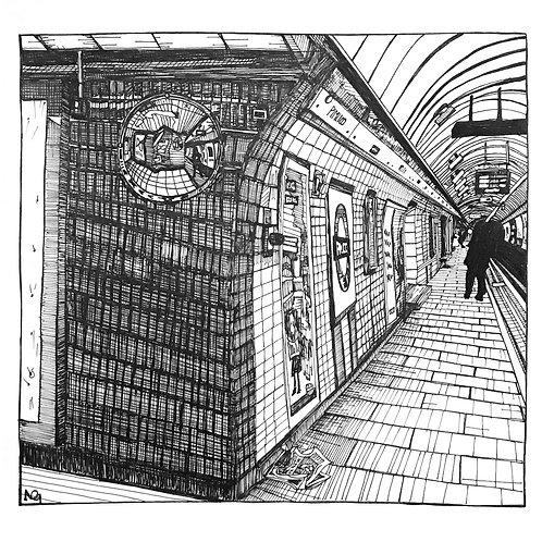 Pimlico Tube Station Illustration Print
