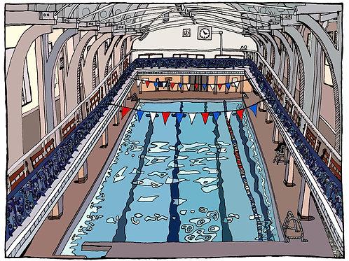 Colour Camberwell Swimming Pool Illustration