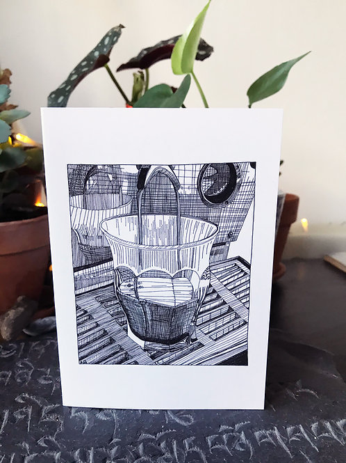 Greeting Card - Pouring Coffee Illustration