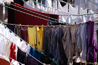 Washing set out to dry
