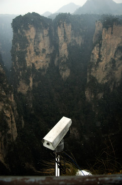 A single CCTV Camera watches the mountains. At the Zhangjiajie National Forest Park