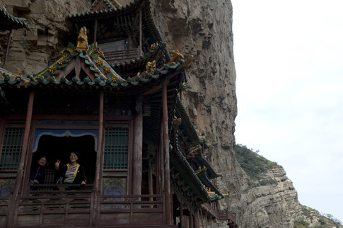 Tourists at the Hanging Monastery, China