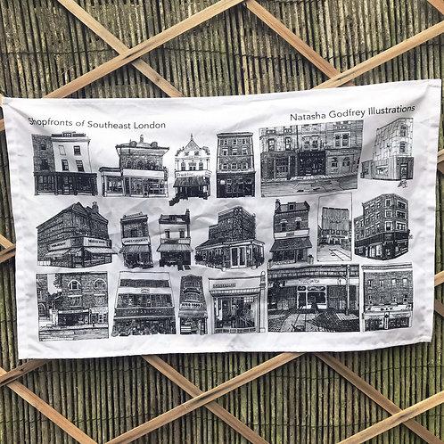 Tea Towel of Southeast London Shopfronts