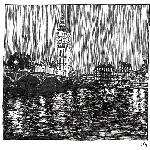 Westminster Bridge at night Illustration Print