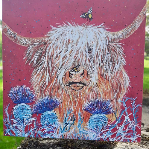 Heather Honey Highland Cow Greeting Card