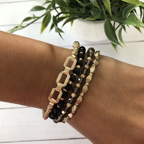 Black & Gold Bracelet Set